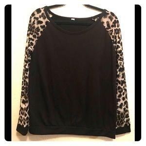 Tops - Black Leopard Sheer Long Sleeve Pullover Shirt L